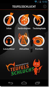 Android App Teufelsschlucht - Startbildschirm