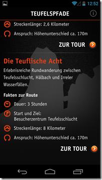 Android App Teufelsschlucht - Tourenübersicht