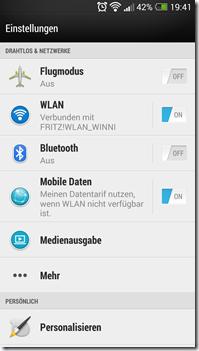 HTC One - Einstellungen