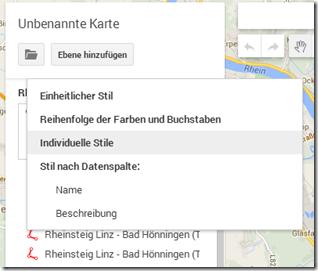 GPS Tracks zusammenführen - Stil auswählen