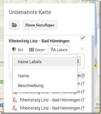 GPS Tracks zusammenführen - Label bearbeiten