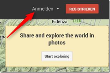 Google Maps / Panoramio - Anmeldedialog