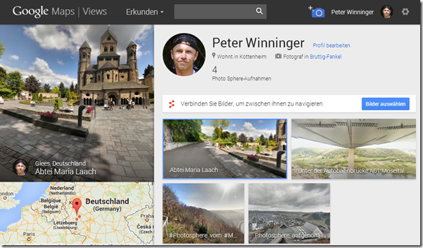 Photo Sphere im Blog - Profilseite