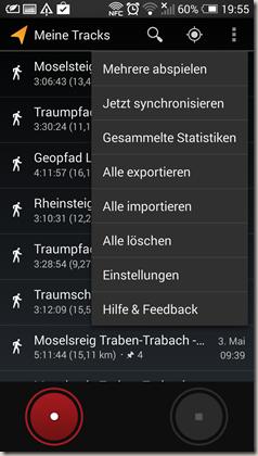 Google Meine Tracks 2.0.7 - Hauptmenü