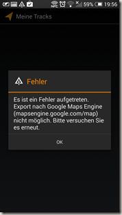 Google Meine Tracks 2.0.7 - Fehlermeldung