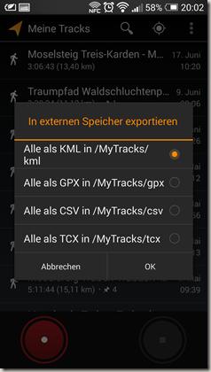 Google Meine Tracks 2.0.7 - Exportformate