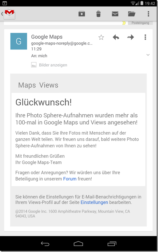 Google Maps Views - E-Mail von Google
