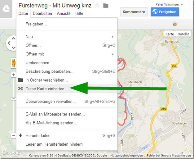 GPS Tracks in WordPress - Drive Export Menü