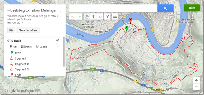 GPS Tracks in WordPress - Maps Engine Kartenansicht