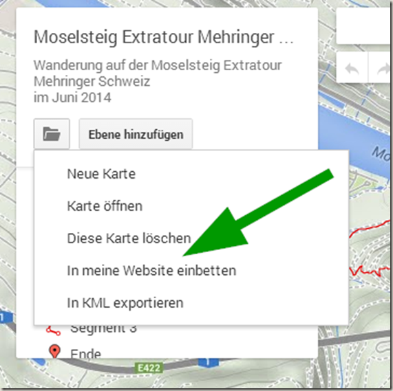GPS Tracks in WordPress - Maps Engine Export Menü