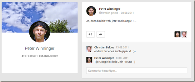 Drei Jahre Google Plus - mein erster Post