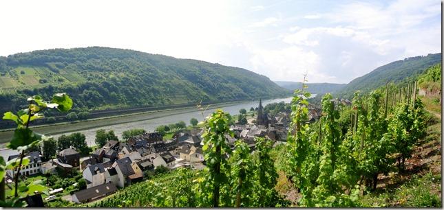 Moselsteig Felsen. Fässer. Fachwerk - Blick auf St. Aldegund