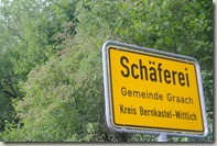 Moselsteig Bernkastel-Kues-Zeltingen - Ortsschild Schäferei