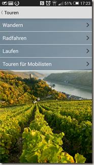 Rheinland-Pfalz Touren App - zweite Navigationsebene