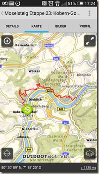 Rheinland-Pfalz Touren App - alte Kartenansicht