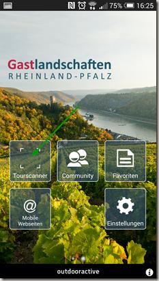 Rheinland-Pfalz Touren App - Tourenscanner aufruf