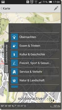 Rheinland-Pfalz Touren App - Slider mit Auswahlmenü