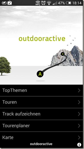 Outdooractive App - Startmenü
