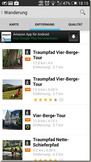 Outdooractive App - Tourenübersicht in der Nähe