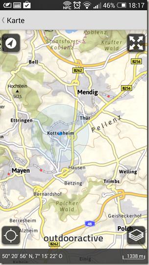 Outdooractive App - Karte mit Standort