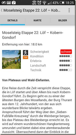 Outdooractive App - Tourenbeschreibung