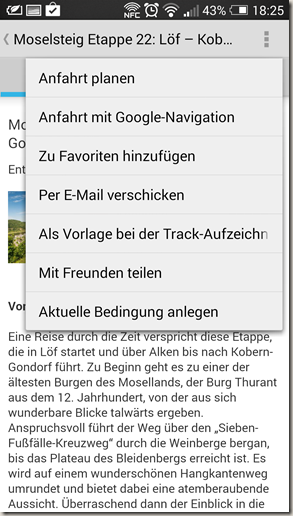 Outdooractive App - Tourenfunktionen