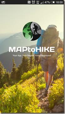 MAPtoHIKE - Startscreen