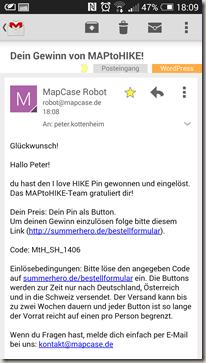 MAPtoHIKE - Gewinn E-Mail