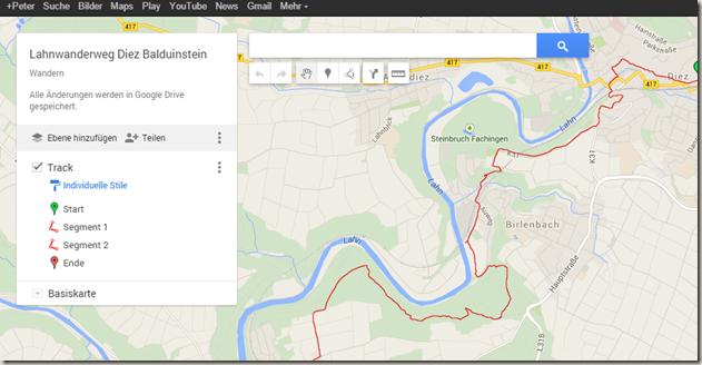 Google MyMaps in Drive - Oberfläche Meine Tracks