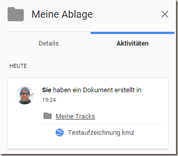 Meine Tracks 2.0.9 - Info KMZ Upload