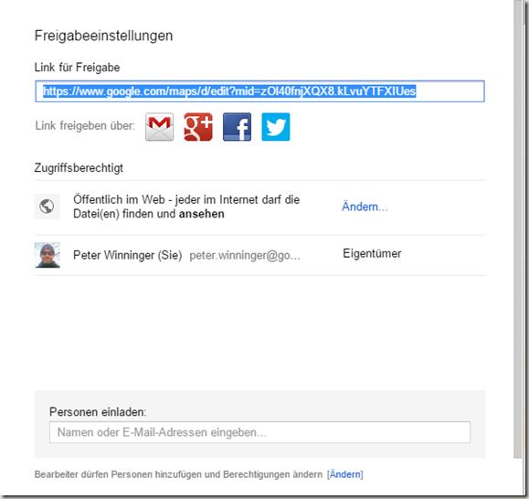 Google MyMaps in Drive - Karte freigeben