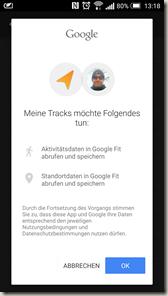 Meine Tracks 2.0.9 - Google Fit Anmeldung