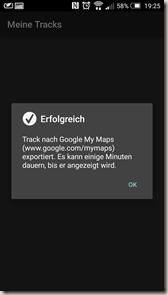 Meine Tracks 2.0.9 - Bestätigung Export