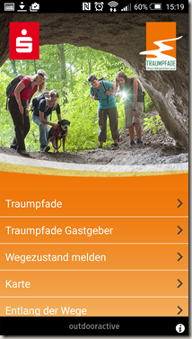 Traumpfade App - Startmenü alt