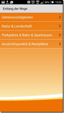 Traumpfade App - Untermenü alt