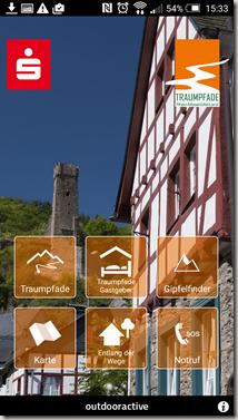 Traumpfade App - Startmenü neu