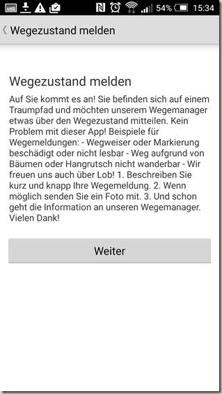 Traumpfade App - Wegezustand melden