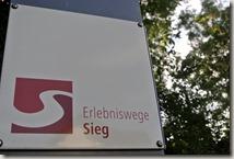 Pulvermühlenweg Sieg - Hinweistafel
