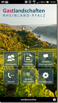 Gastlandschaften App - Menü